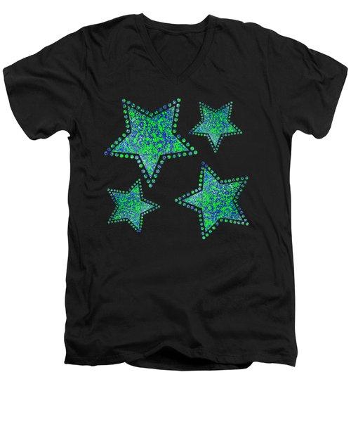 Blue Green Splatter Men's V-Neck T-Shirt