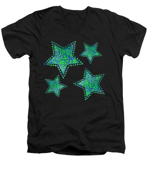 Blue Green Splatter Men's V-Neck T-Shirt