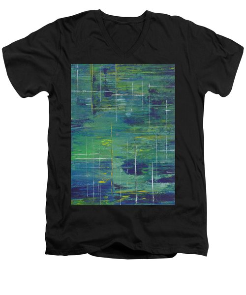 Blue Green Yellow Abstract  Men's V-Neck T-Shirt by Patricia Cleasby
