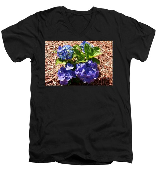 Men's V-Neck T-Shirt featuring the digital art Blue Heaven by Barbara S Nickerson