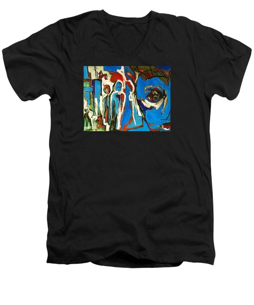 Men's V-Neck T-Shirt featuring the painting Blue by Helen Syron