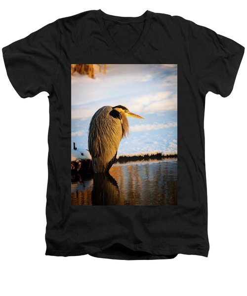 Blue Heron Resting Men's V-Neck T-Shirt