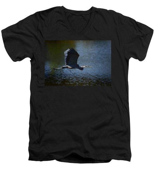Blue Heron Skies  Men's V-Neck T-Shirt