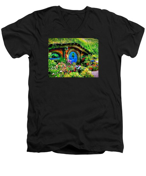 Blue Hobbit Door Men's V-Neck T-Shirt