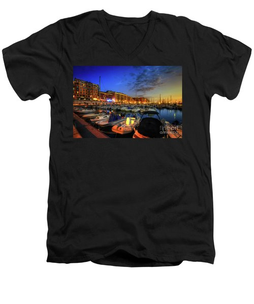 Men's V-Neck T-Shirt featuring the photograph Blue Hour At Port Nice 1.0 by Yhun Suarez