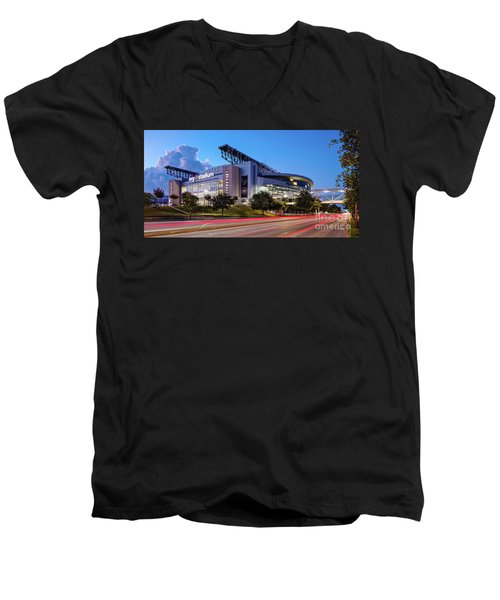 Blue Hour Photograph Of Nrg Stadium - Home Of The Houston Texans - Houston Texas Men's V-Neck T-Shirt