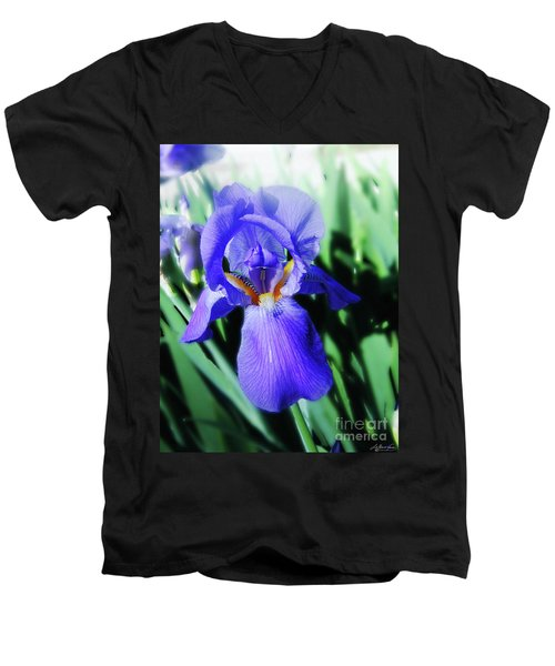Blue Iris 2 Men's V-Neck T-Shirt by Lizi Beard-Ward