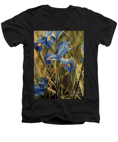 Men's V-Neck T-Shirt featuring the painting Blue Iris by Laurie Rohner