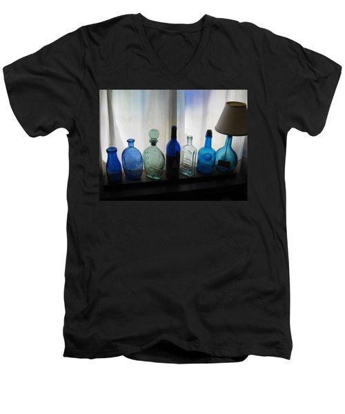 Blue Men's V-Neck T-Shirt by John Scates