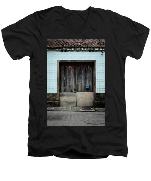 Men's V-Neck T-Shirt featuring the photograph Blue Mailbox by Marco Oliveira