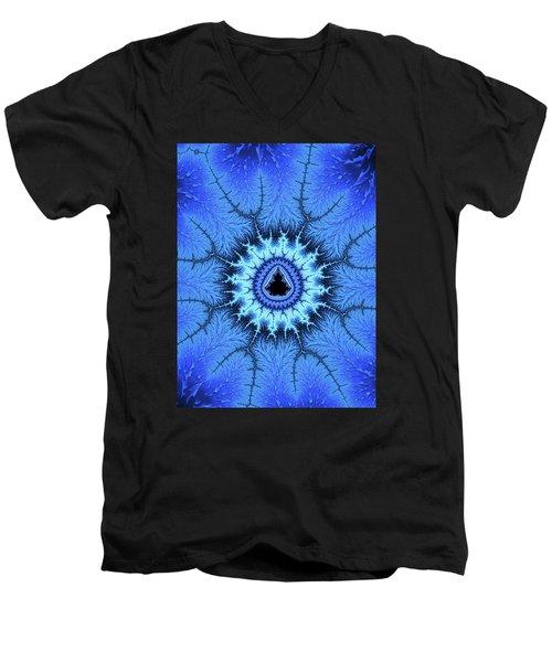 Men's V-Neck T-Shirt featuring the digital art Blue Mandelbrot Fractal Relaxing And Balanced by Matthias Hauser