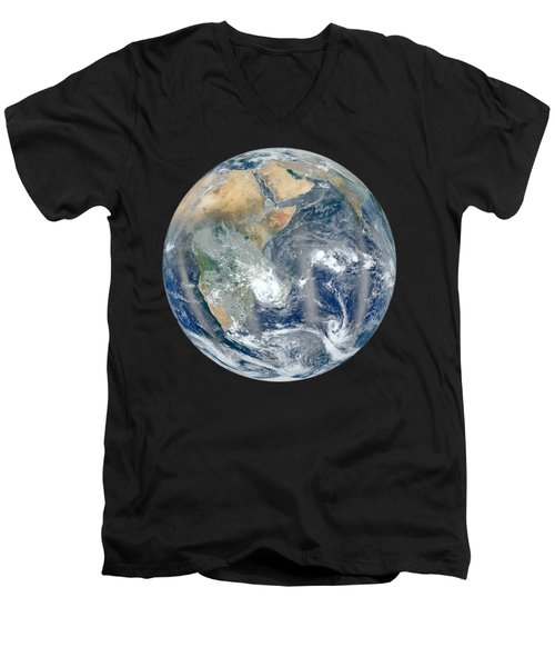 Blue Marble 2012 - Eastern Hemisphere Of Earth Men's V-Neck T-Shirt by Nikki Marie Smith