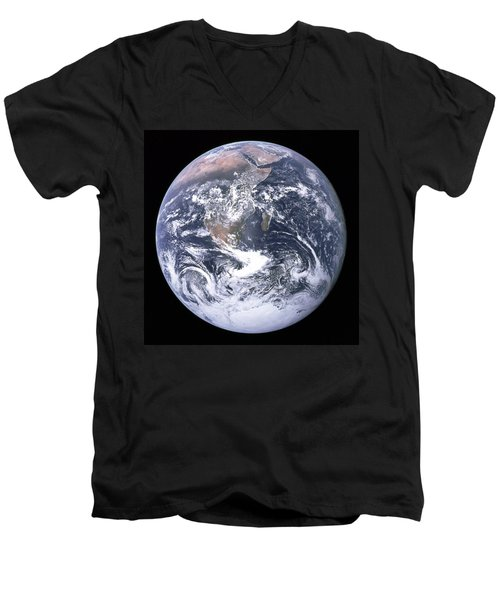 Blue Marble - Image Of The Earth From Apollo 17 Men's V-Neck T-Shirt
