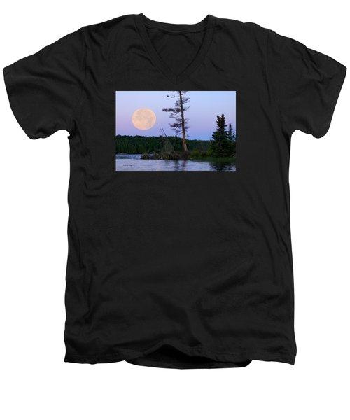 Blue Moon At Sunrise Men's V-Neck T-Shirt by Steven Clipperton