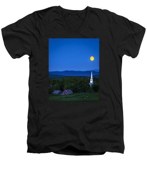 Blue Moon Rising Over Church Steeple Men's V-Neck T-Shirt