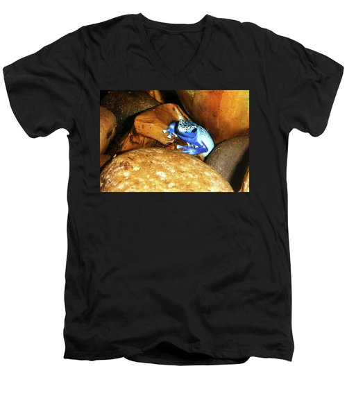 Men's V-Neck T-Shirt featuring the photograph Blue Poison Dart Frog by Anthony Jones