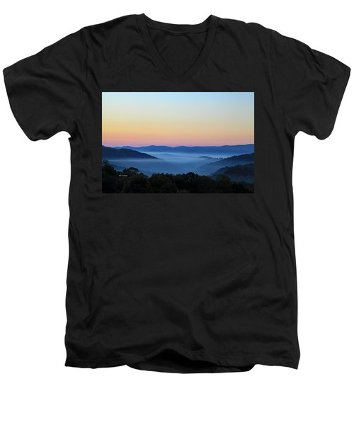 Blue Ridge Dawn Men's V-Neck T-Shirt by Dale R Carlson