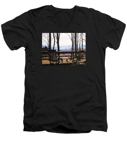 Blue Ridge Mountain Porch View Men's V-Neck T-Shirt by Patricia L Davidson