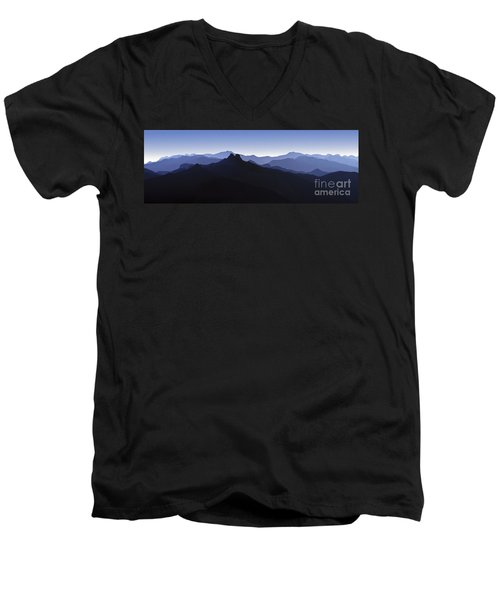 Men's V-Neck T-Shirt featuring the photograph Blue Ridge Mountains. Pacific Crest Trail by David Zanzinger