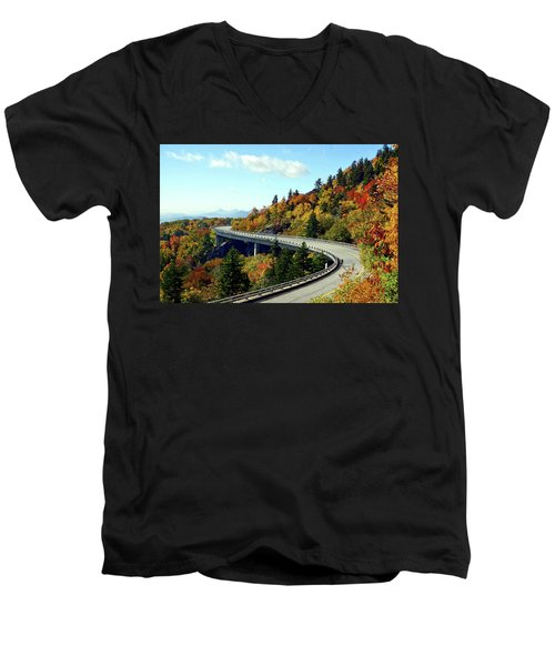 Men's V-Neck T-Shirt featuring the photograph Blue Ridge Parkway Viaduct by Meta Gatschenberger