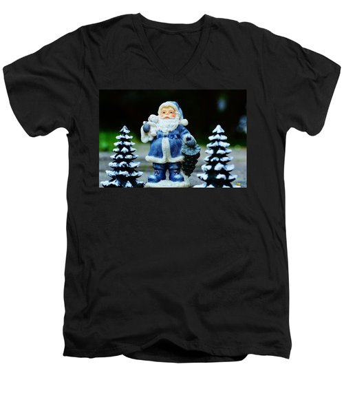 Blue Santa Christmas Card Men's V-Neck T-Shirt by Bellesouth Studio