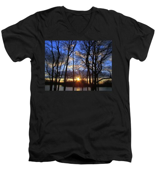 Men's V-Neck T-Shirt featuring the photograph Blue Skies And Golden Sun by J R Seymour