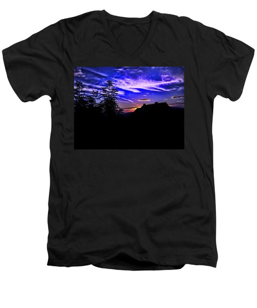 Men's V-Neck T-Shirt featuring the photograph Blue Sunset In Poland by Mariola Bitner