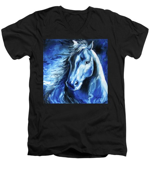 Blue Thunder  Men's V-Neck T-Shirt by Marcia Baldwin