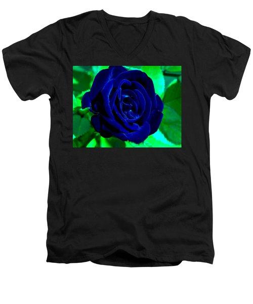 Blue Velvet Rose Men's V-Neck T-Shirt by Samantha Thome