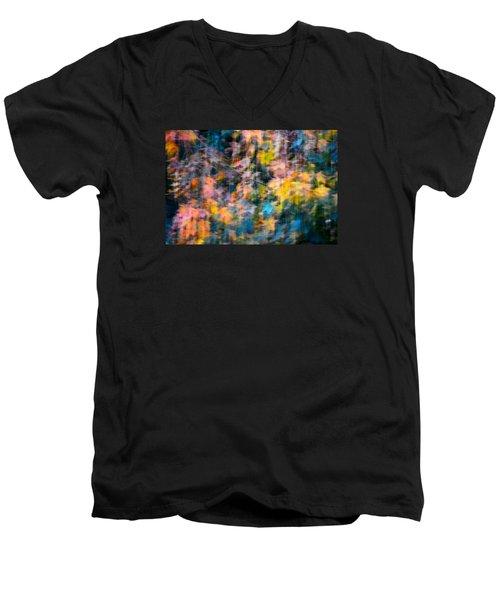 Blurred Leaf Abstract 2 Men's V-Neck T-Shirt