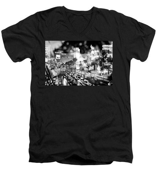 Blurry Vegas Nights IIi Men's V-Neck T-Shirt