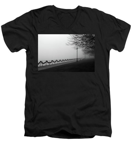 Men's V-Neck T-Shirt featuring the photograph Boardwalk Fog 7 by Mary Bedy