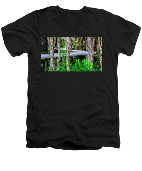 Boardwalk In The Woods Men's V-Neck T-Shirt