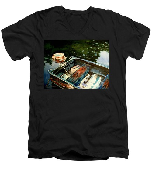 Men's V-Neck T-Shirt featuring the painting Boat In Fog 2 by Marilyn Jacobson