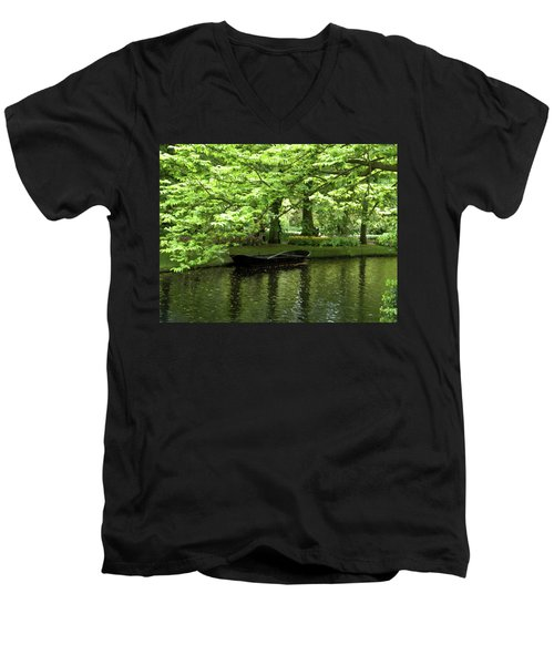 Boat On A Lake Men's V-Neck T-Shirt