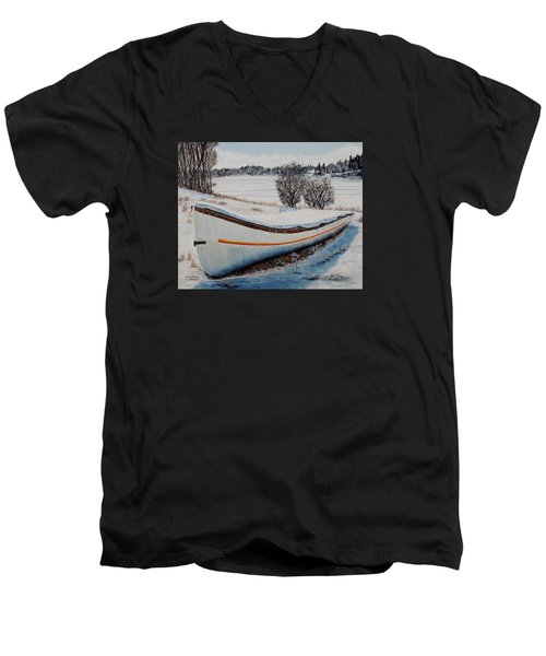 Men's V-Neck T-Shirt featuring the painting Boat Under Snow by Marilyn  McNish