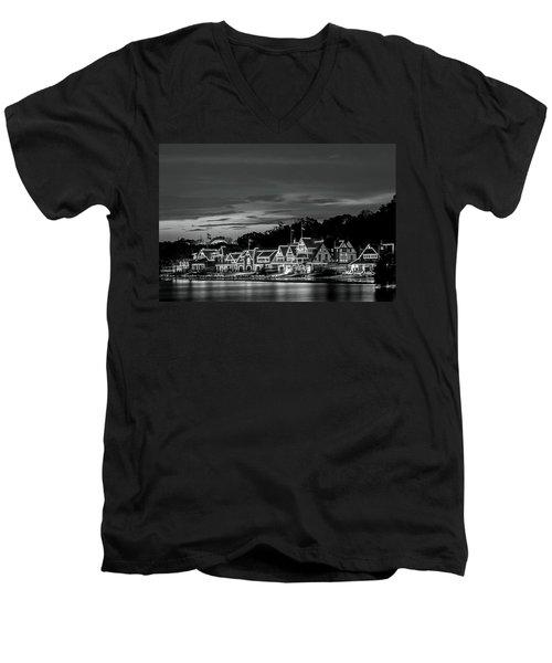 Boathouse Row Philadelphia Pa Night Black And White Men's V-Neck T-Shirt