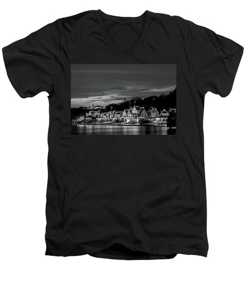 Boathouse Row Philadelphia Pa Night Black And White Men's V-Neck T-Shirt