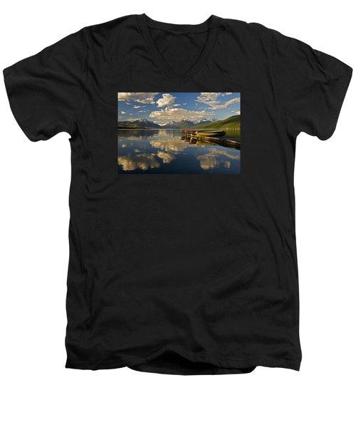 Men's V-Neck T-Shirt featuring the photograph Boats At Lake Mcdonald by Gary Lengyel