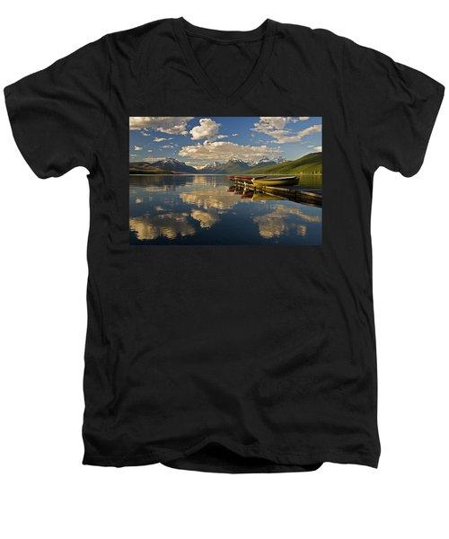 Boats At Lake Mcdonald Men's V-Neck T-Shirt