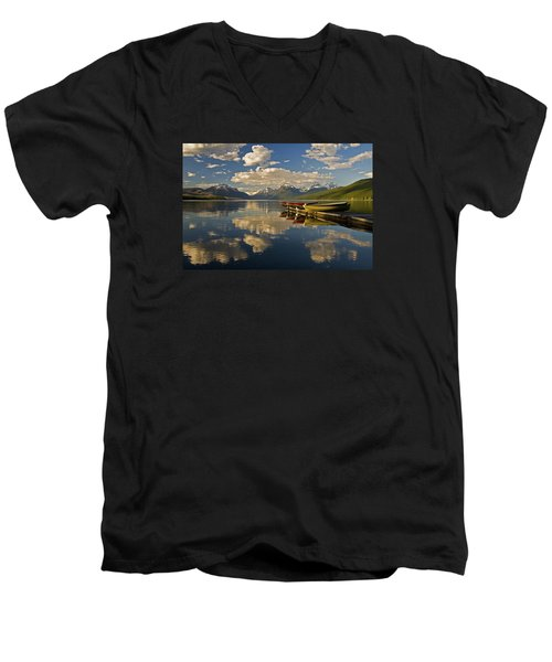 Boats At Lake Mcdonald Men's V-Neck T-Shirt