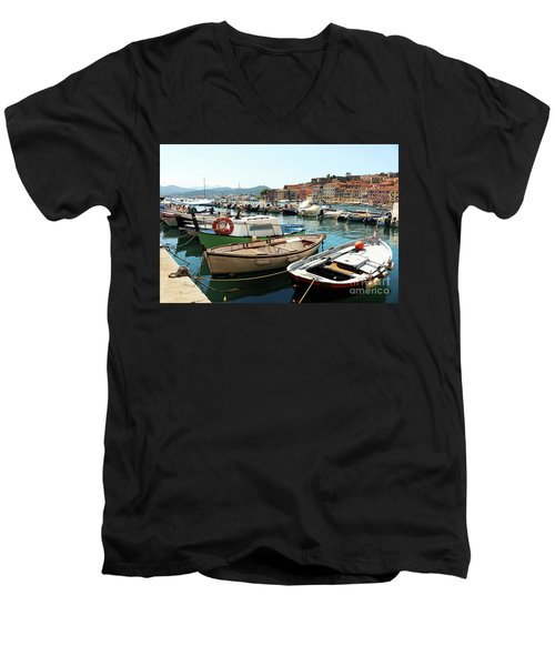 Men's V-Neck T-Shirt featuring the photograph Boats In The Harbour by MGL Meiklejohn Graphics Licensing