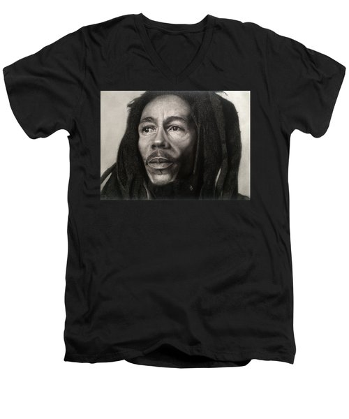 Bob Marley Drawing Men's V-Neck T-Shirt