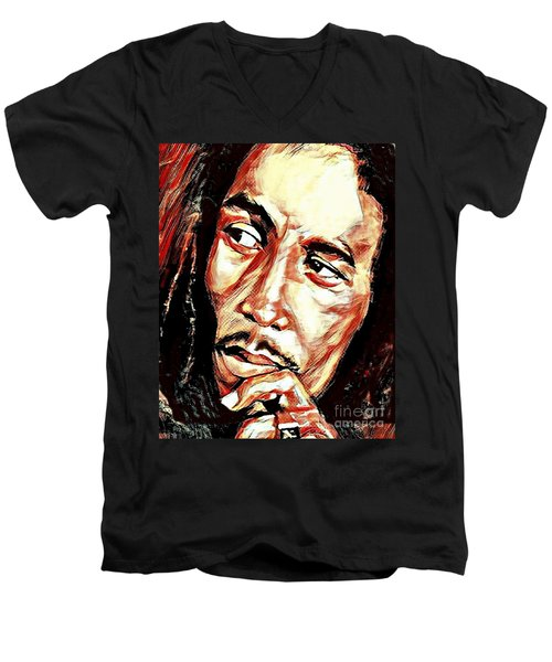 Bob Marley Men's V-Neck T-Shirt