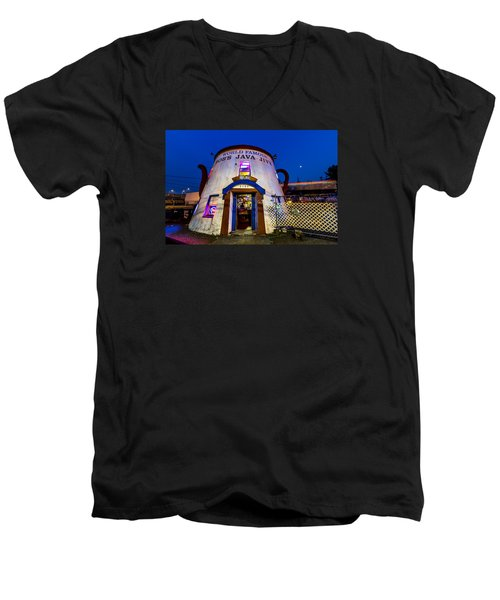 Men's V-Neck T-Shirt featuring the photograph Bob's Java Jive - Historic Landmark During Blue Hour by Rob Green