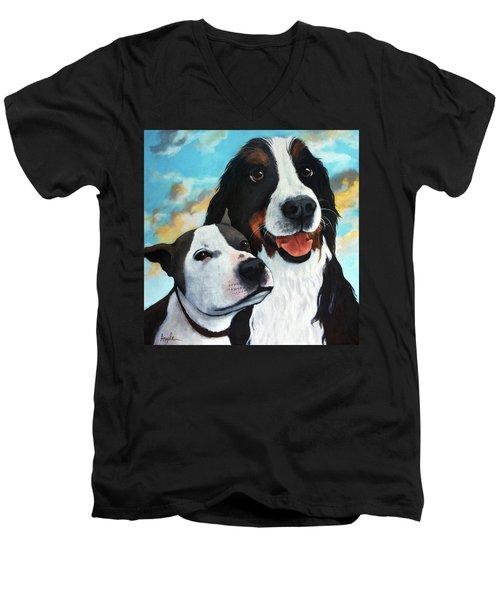 Bodhi And Lily  Pet Portrait Men's V-Neck T-Shirt
