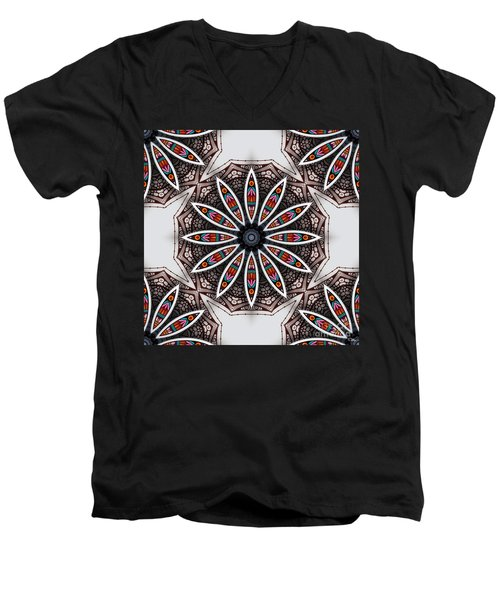 Men's V-Neck T-Shirt featuring the digital art Boho Flower by Mo T