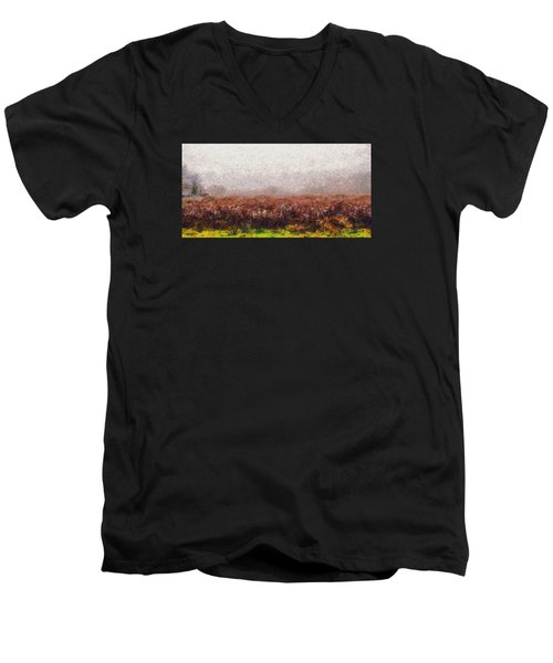 Men's V-Neck T-Shirt featuring the photograph Boiling Field by Spyder Webb
