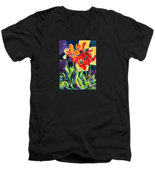 Bold Quilted Tulips Men's V-Neck T-Shirt