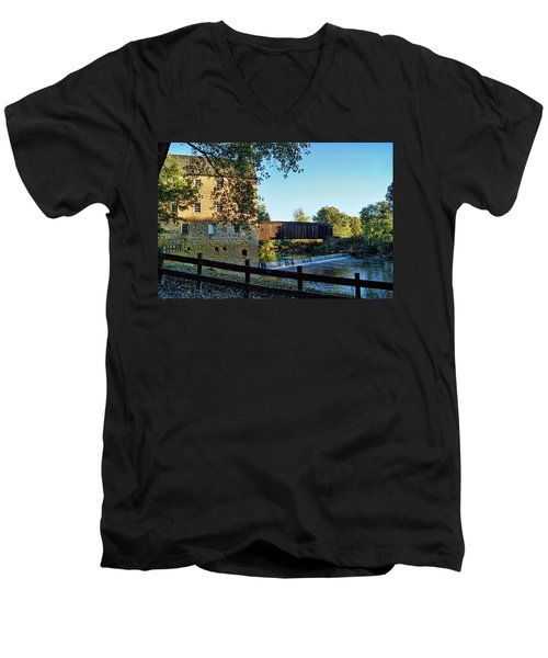 Men's V-Neck T-Shirt featuring the photograph Bollinger Mill And Bridge by Cricket Hackmann